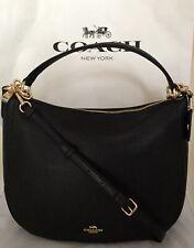 Coach F31399 Elle Hobo Pebble Leather Handbag Purse Satchel Bag Black