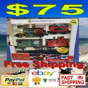 New Bright The Great American Express Railroad Geoffrey Box Car Train Set RARE