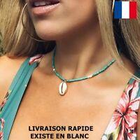 Collier Perles Coquillage Bohème Blanc Turquoise Féminin Elégance Cadeau Mode