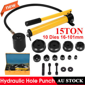 15Ton 10Dies Hydraulic Hole Punch Metal Knockout Hand Pump Hole Tool 16-101mm AU