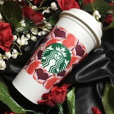 NEW Starbucks 2019 Reusable Plastic Cup w Lid Heart 16oz BPA Free