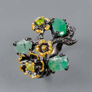 Handmade Jewelry design Emerald Ring Silver 925 Sterling  Size 8 /R177535