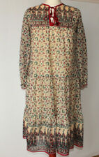 Vintage Smocked Floral Dress Beige Red Retro Tie Frint Boho Hippy Folk Small