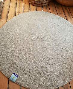 100cm x100cm Circle Grey 100% Wool weave Quality Reversible Circular rugs