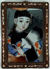 Antique Chinese Reverse Painting on Glass Geisha Girl Courtesan a Fan MOP Frame