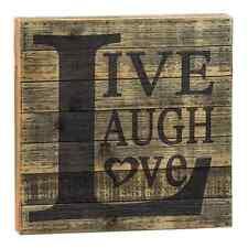 """Live Laugh Love"" Wood Slatted Sign Rustic 12 x12"" x 1 1/2"" deep Primitive"