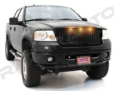 04-08 Ford F150 Raptor Style Gloss Black Package Mesh Grille+Shell+Amber 3x LED