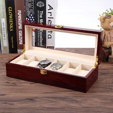 Top Glass Jewelry Storage Organizer Gifts 6 Slot Watch Display Wooden Case Box