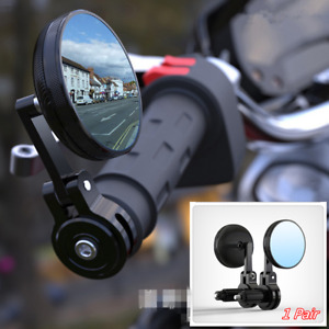 7/8in Aluminium Round RearView Handle Bar End Side Mirrors Fit For Motorcycle