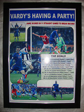 Jamie Vardy scores in 11 games for Leicester City - 2015 - framed print