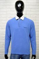 Polo HARVEY Uomo Taglia Size L Maglia Camicia Shirt Man Cotone Maglietta Blu