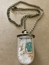 Vintage Necklace Dome Seascape Filled Glass  30 Inches USA 1461