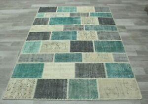 Anatolian Hand Knotted Patchwork Area Rug Turkish Unique Vintage Carpet 5x8 ft.