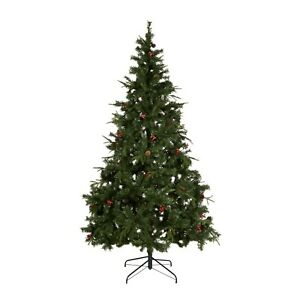 7ft 6 Green Pre Decorated Vail Christmas Tree With Pine Cones & Berries