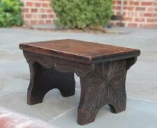 Antique English Oak Petite Carved Top Foot Stool Bench Kitchen Kettle Stand #1