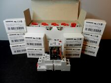 Qty 10 Siemens 3TX7114-5LF13 120V DPDT Relay & 3TX7144-4E6 8 pin DIN-rail Base