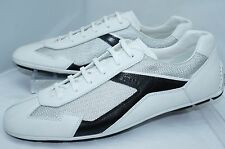 New Prada Men's Sneakers White Tennis Shoes Size 10 Plume Bike Lace Up Leather