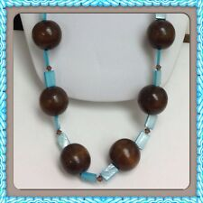 Vintage Long wooden Balls,mother Of Pearl And  crystal beaded necklace