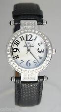 Lucien Piccard Women's 27008BK Roulette White Sapphire Watch Black Leather Strap