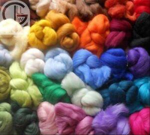 60+ colours of 100% Merino Wool Tops/roving for needle & wet felting (6 gm each)