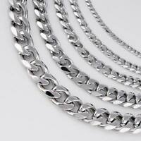 18-36'' MEN Stainless Steel 3/5/7/9/11mm Silver Tone Cuban Curb Chain Necklace