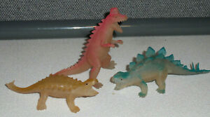 SET OF 3 VINTAGE RUBBER PLASTIC TOY DINOSAURS HOLLOW HONG KONG