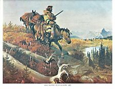John Clymer Western Art Print FREE TRAPPER Color Lithograph