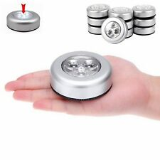 3PCS 3 LED Night Light Home Cabinet Push Tap Touch Stick On Battery Powered Lamp