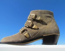 NEW 38 CHLOE Susanna greige ankle boots ITALY booties studs straps buckles sexy