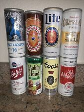 Lot of 8 flattop beer cans Tall 16oz Schlitz Robin Hood Coors Lite New Castle
