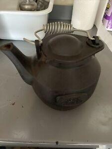 John Wright Teapot Cast Iron Black w/Swivel Lid Handle VTG Kettle Teapot