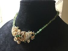 """Vintage Miriam Haskell Seed Bead Wired Necklace Green Glass Pearls Choker 16.5"""""""