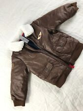 Little Me Aviator Bomber Jacket Faux Leather Sherpa Collar 18 M Brown