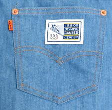 vtg Levi's 1980 OLYMPICS Soft Blue Jeans 38W 32L Orange Tab Winter Games usa
