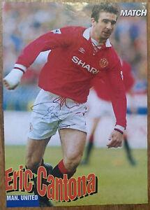 Signed Eric Cantona Manchester United Magazine Football Poster Autograph