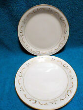 2 VTG Mikasa Ivory China Rose Bay Pattern Gold Trim Dinner Plate 10 1/2 Inch