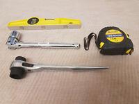 New Scaffolding Tools 4in1 FullSet Professional Steel Ratchet Spanner Level Tape
