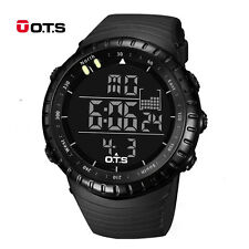 Digital Mens Watch Stainless Steel Analog Quartz Sport Military Wristwatch Black