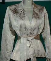 Womens Anne Fontaine Gold Metallic Brocade Belted Jacket Blazer Size 40 EU 6-8 U