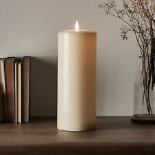 Large Battery LED Flameless Ivory Pillar Candle TruGlow™ 6hTimer 25cm Lights4fun