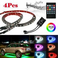 4x 5050 LED RGB Strip Under Car Tube Underglow Remote Controller Neon Light Kit