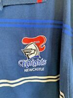 TEAM NRL Newcastle Knights Blue & White Striped Size XL S/S Polo T Shirt Top