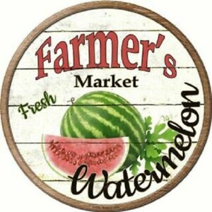 "FARMERS MARKET WATERMELON 12"" ROUND LIGHTWEIGHT METAL WALL SIGN DECOR RUSTIC"