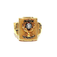 "10K GOLD, PLATINUM & DIAMOND ""PAST EXALTED RULER"" ELKS CLUB RING ~ SIZE 8 1/4"