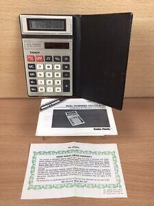 Vintage Tandy EC-417 EC417 Calculator & Case Solar & Battery Powered