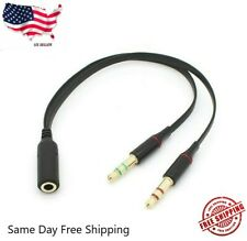 3.5mm Audio Mic Y Splitter Cable Headphone Adapter Female to 2 Male US SHIP