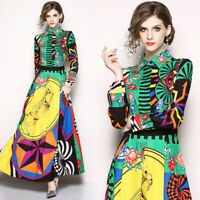 womens spring summer vintage Print dress retro dress flower swing long Dress