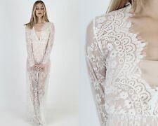 Vtg Boho Wedding Dress Sheer Floral Scallop Lace Deco Bridal Cocktail Gown Maxi