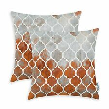 Pack of 2 Cushion Covers Pillows Cases Rust Grey Trellis Chaingeometric 45x45cm