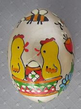 Pysanka Golden Wooden Hand Painted Easter Egg, Chicks, Flower, Paskha Design